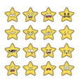 collection yellow stars emoticons cartoons vector image
