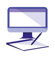 computer with tablet and electronic pen vector image vector image