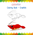 Crawfish coloring book educational game vector image vector image