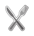 cutlery fork and knife icon image vector image