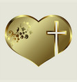 design silhouette of the heart with a golden hue vector image vector image
