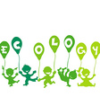 Ecology concept with kids and balloons vector image vector image