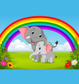 elephant and baby elephant at jungle with rainbow vector image vector image
