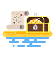 flat style of treasure chest and map vector image vector image