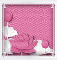 floral pink oriental frame with lotus flower vector image vector image