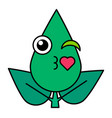 green leaf air kisses emoticon linear icon vector image