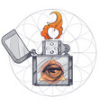 hand drawn vintage zippo with all-seeing eye vector image vector image