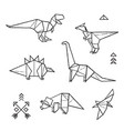 ink origami tattoos dinosaurs set vector image vector image
