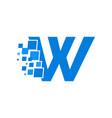 logo letter w blue blocks cubes vector image