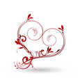 love heart abstract swirly icon on red vector image