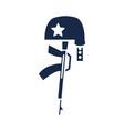 memorial day gun military and helmet american vector image