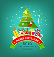 Merry Christmas Tree and happy new year design vector image