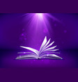 mystery open book fantasy book with magic light vector image