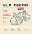 nutrition facts red onion hand draw sketch vector image vector image