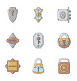 padlock icons set cartoon style vector image vector image