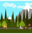 primitive hunting in the woods flat style vector image