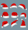 realistic christmas santa claus red hats isolated vector image vector image