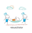 resuscitator carry on a stretcher patient vector image