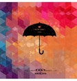 Retro umbrella on colorful geometric background vector image