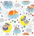 seamless pattern with cute sleeping animals vector image vector image