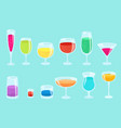 set glasses with drinks beverage glassware kit vector image vector image