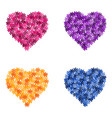 Set of flower hearts vector image