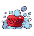 soap with foam hand drawing vector image vector image