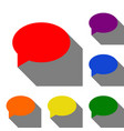 speech bubble icon set of red orange yellow vector image vector image