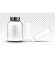 sport nutrition supplement container mockup set vector image