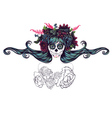 Sugar Skull Girl in Flower Crown7 vector image vector image