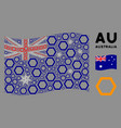 waving australia flag mosaic contour hexagon vector image vector image