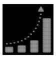 white halftone bar chart positive trend icon vector image vector image