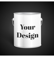 White Tall Tub Paint Bucket Container With Metal vector image