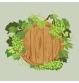 Wooden round frame with green grapes and leaves vector image