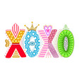 xoxo hand drawn lettering happy valentines day vector image vector image