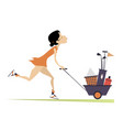 young pretty woman is going to play golf isolated vector image vector image