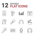 12 studio icons vector image vector image