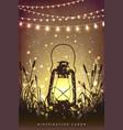 amazing vintage lanten on grass vector image vector image