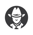 american cowboy head simple silhouette vector image
