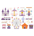 amusement park set colorful carousel with horses vector image