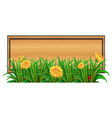 An empty signboard at the back of the plants vector image vector image
