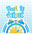 back to school logo clock on notebook background vector image vector image
