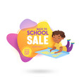 back to school sale banner with cute cartoon vector image vector image