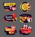 black friday offers and sales banners gifts set vector image vector image