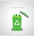 bottles in a green recycling bin vector image vector image