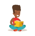 Boy With Afro Sitting With Legs Crossed On The vector image vector image