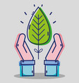 business man hands with tropical leaf vector image vector image