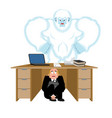 businessman scared under table of yeti to hide vector image