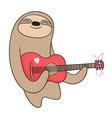 cartoon sloth playing the guitar vector image vector image