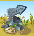 cartoon stone age pointer template vector image vector image